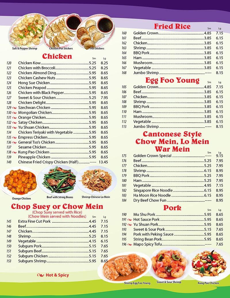 Golden Lake Chinese Restaurant Menu